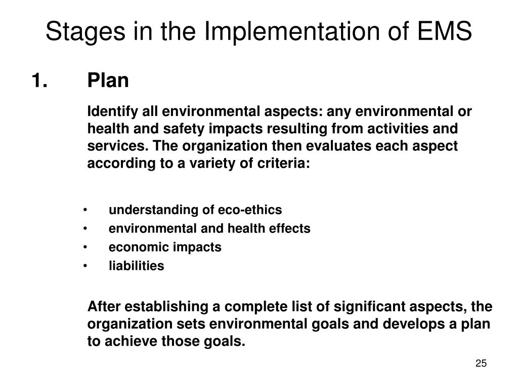 Stages in the Implementation of EMS