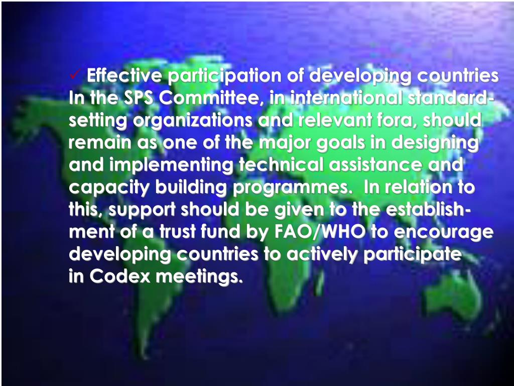 Effective participation of developing countries