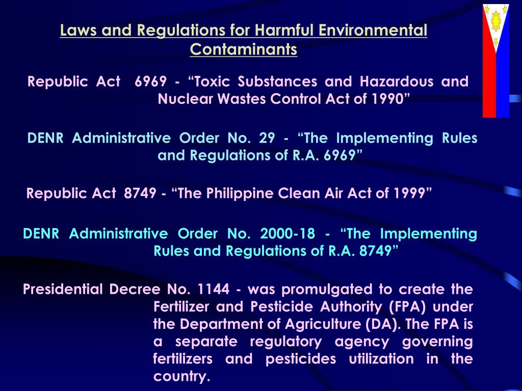 Laws and Regulations for Harmful Environmental Contaminants