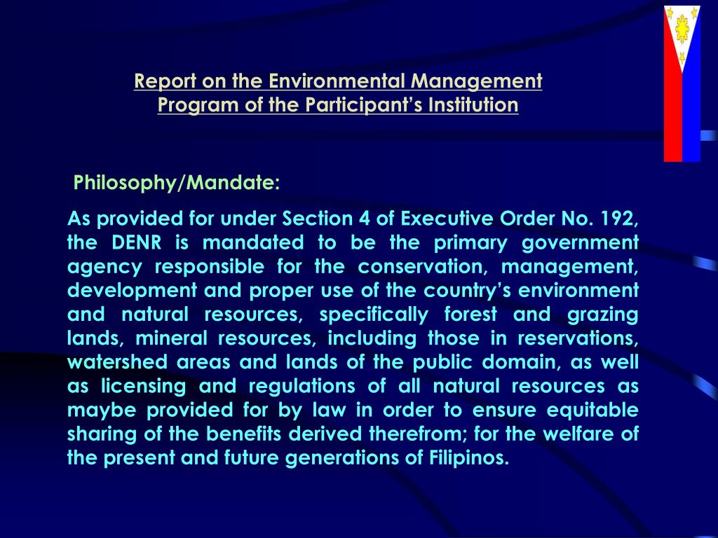 Report on the Environmental Management Program of the Participant's Institution