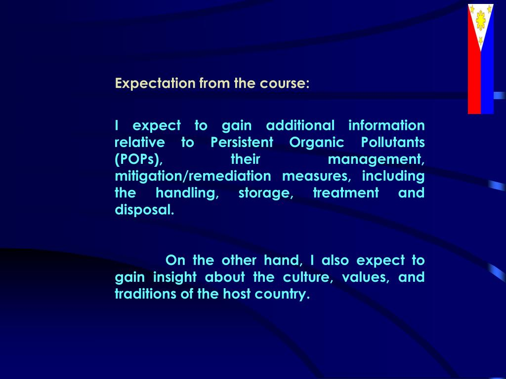 Expectation from the course: