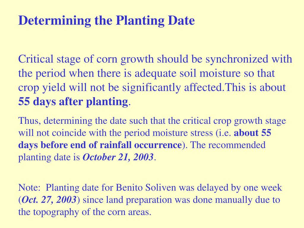Determining the Planting Date