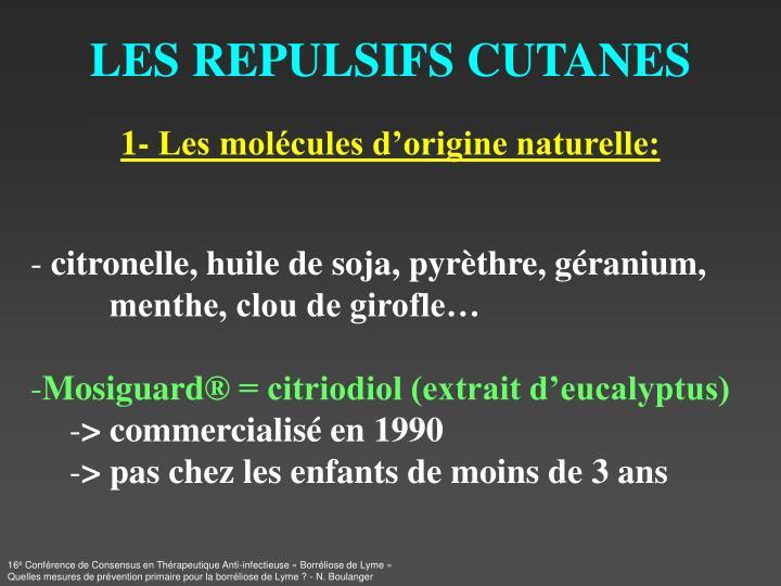 LES REPULSIFS CUTANES
