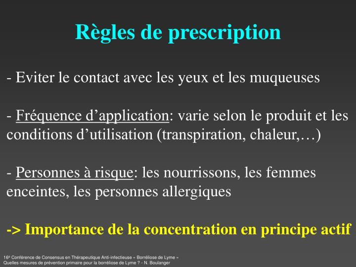 Règles de prescription