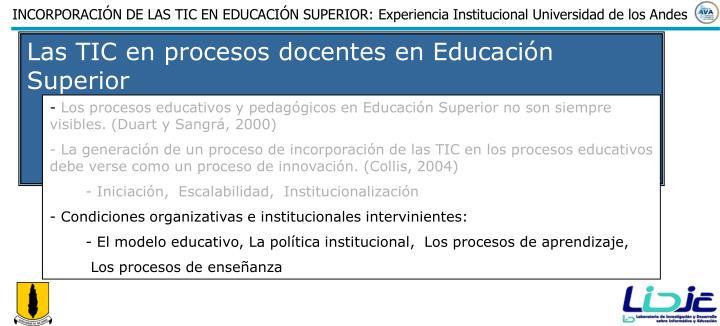 Las TIC en procesos docentes en Educación Superior