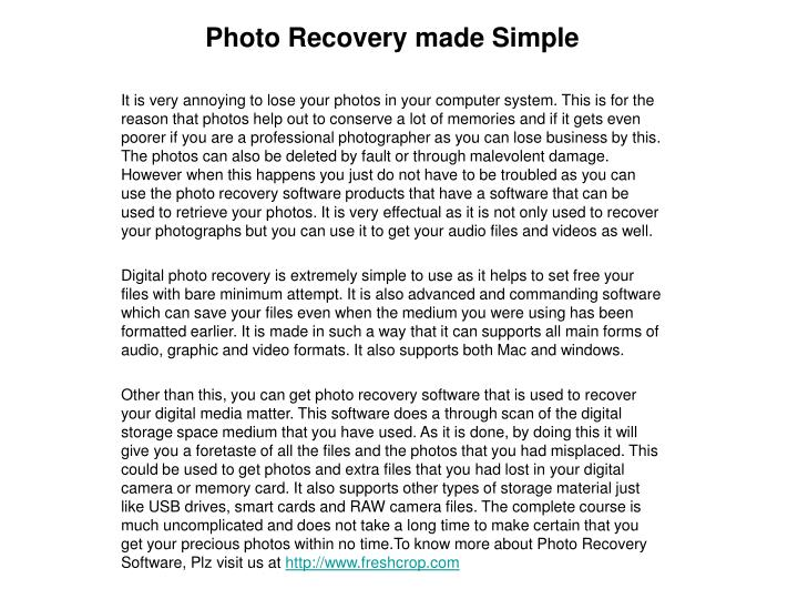 Photo recovery made simple