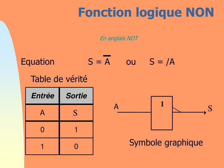 Fonction logique NON