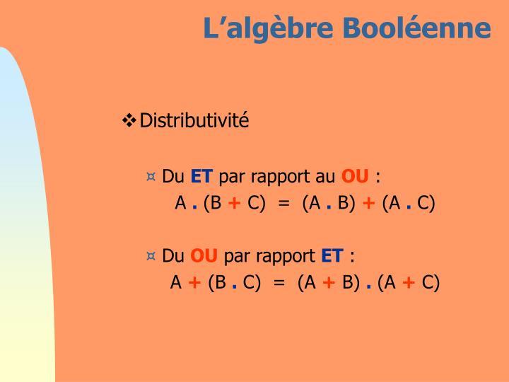 L'algèbre Booléenne