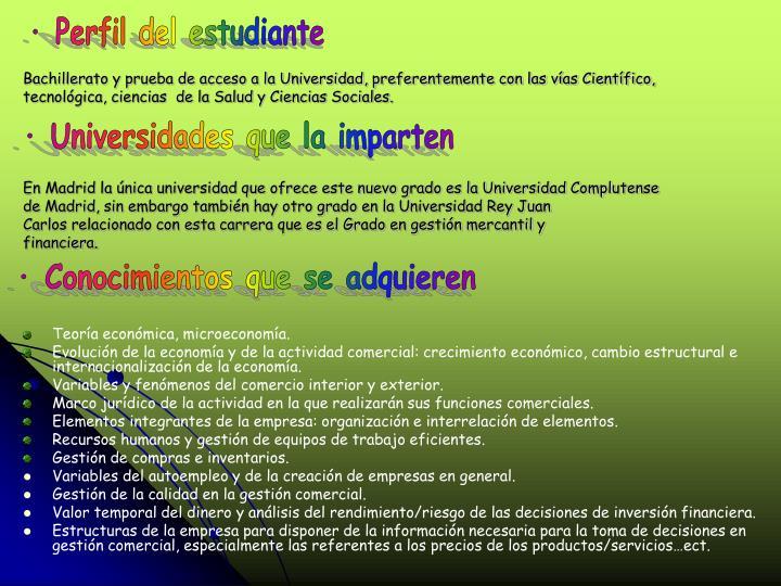 · Perfil del estudiante
