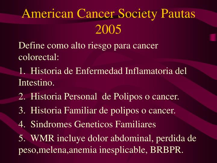 American Cancer Society Pautas 2005