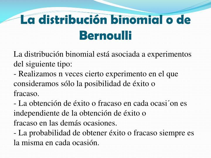 La distribución binomial o de Bernoulli