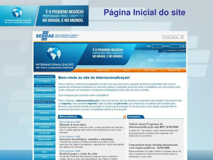 Página Inicial do site