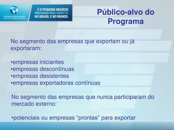 Público-alvo do Programa
