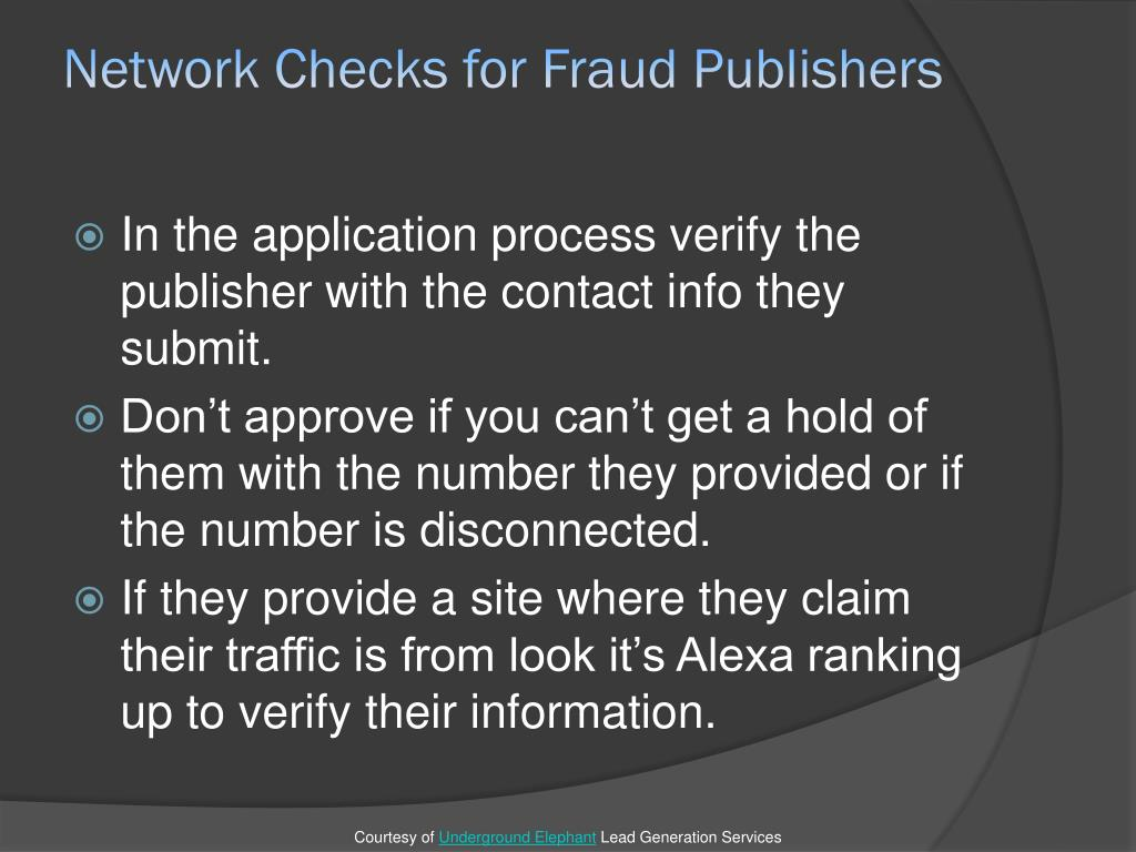 Network Checks for Fraud Publishers