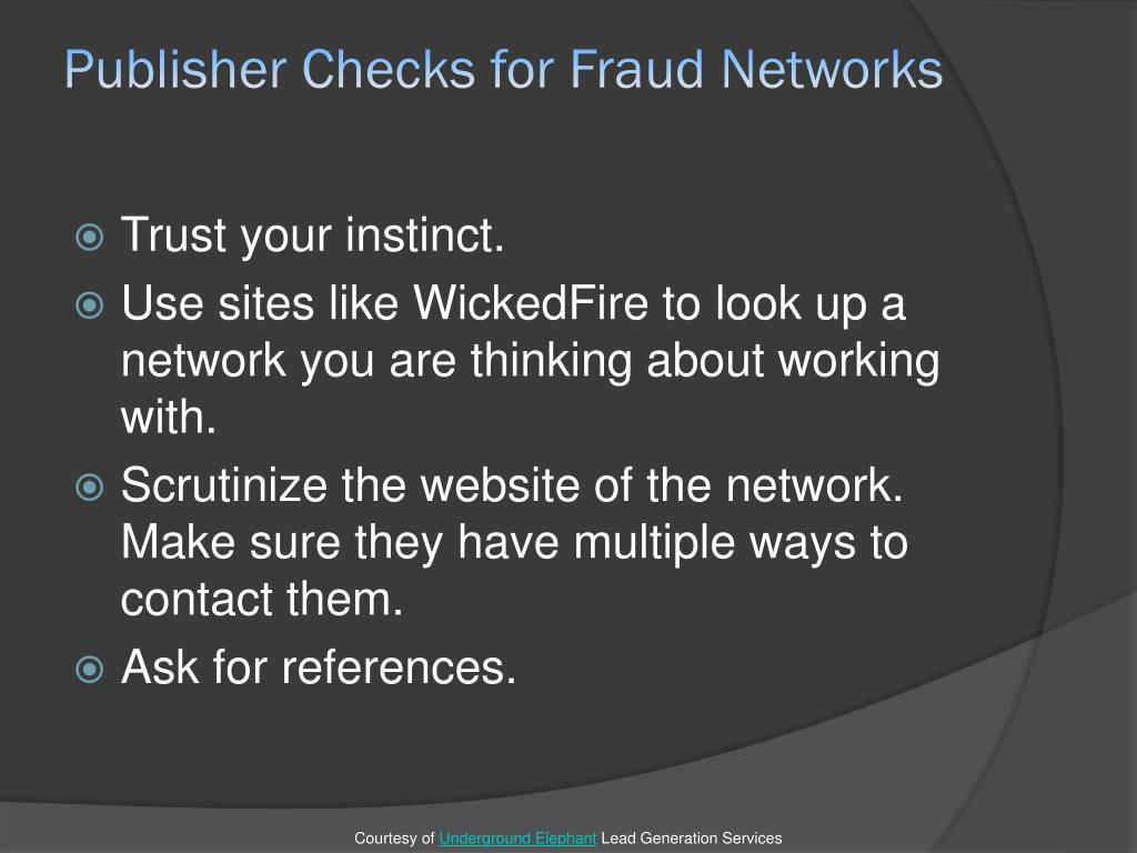 Publisher Checks for Fraud Networks
