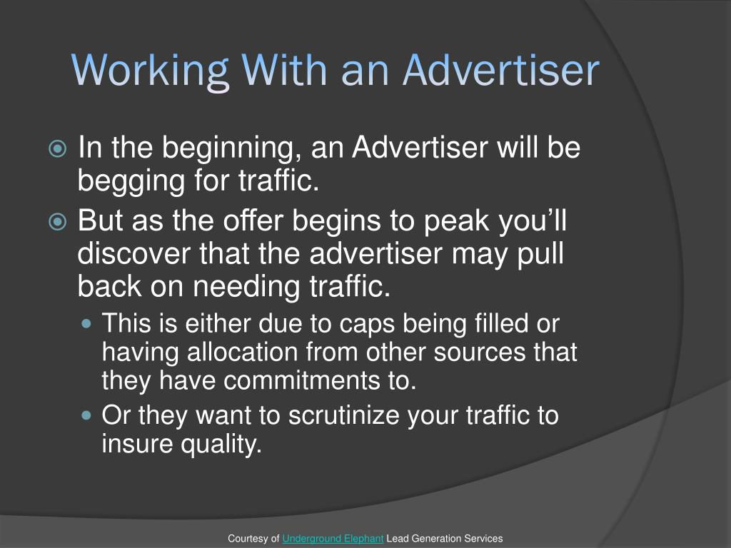Working With an Advertiser