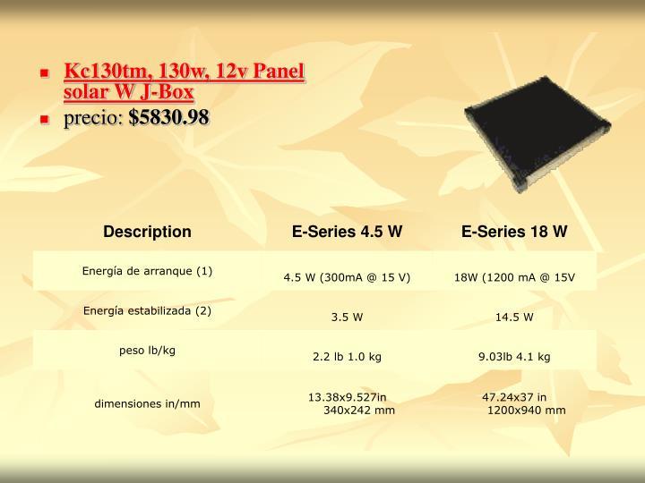 Kc130tm, 130w, 12v Panel solar W J-Box