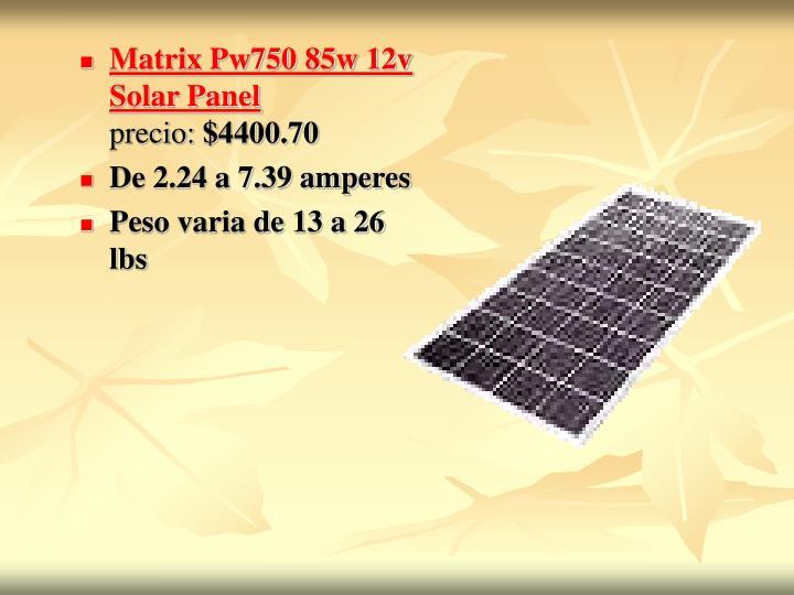 Matrix Pw750 85w 12v Solar Panel