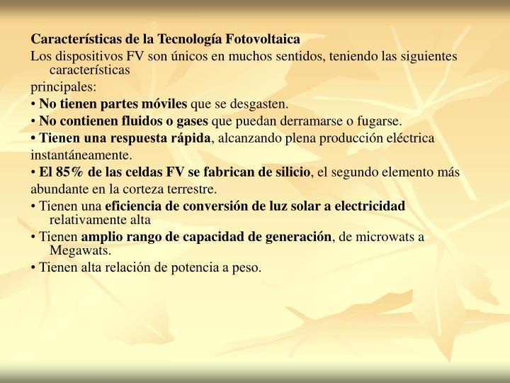 Características de la Tecnología Fotovoltaica