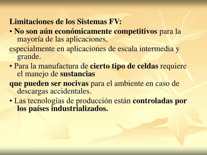 Limitaciones de los Sistemas FV: