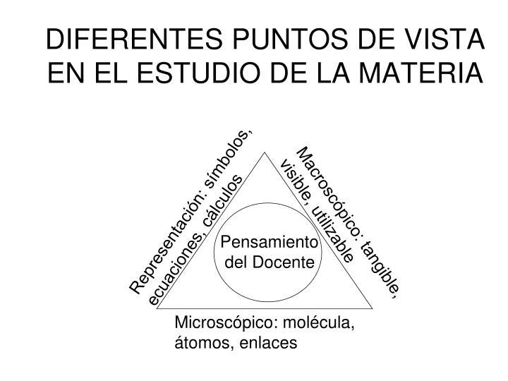 DIFERENTES PUNTOS DE VISTA EN EL ESTUDIO DE LA MATERIA