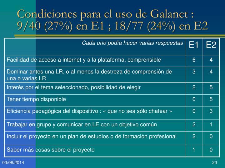 Condiciones para el uso de Galanet : 9/40 (27%) en E1 ; 18/77 (24%) en E2