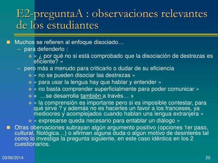 E2-preguntaA : observaciones relevantes de los estudiantes