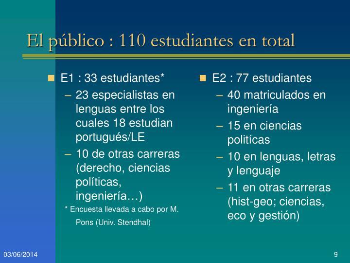 E1 : 33 estudiantes*