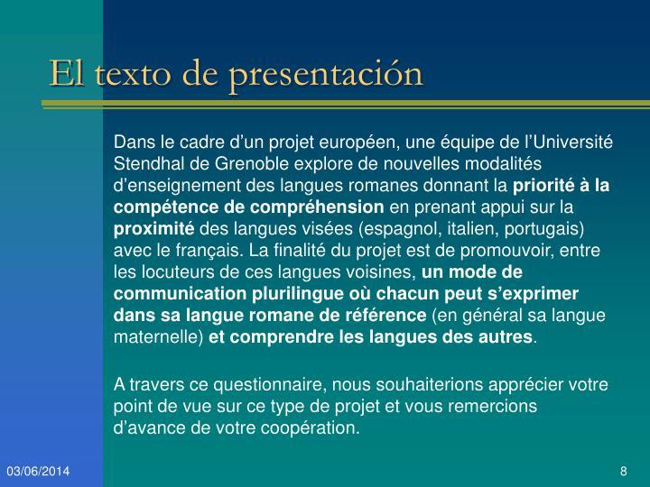 El texto de presentación