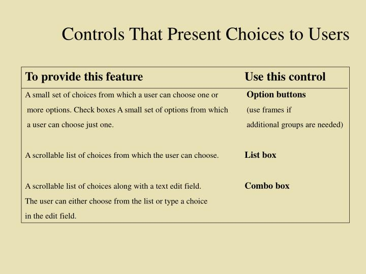 Controls That Present Choices to Users