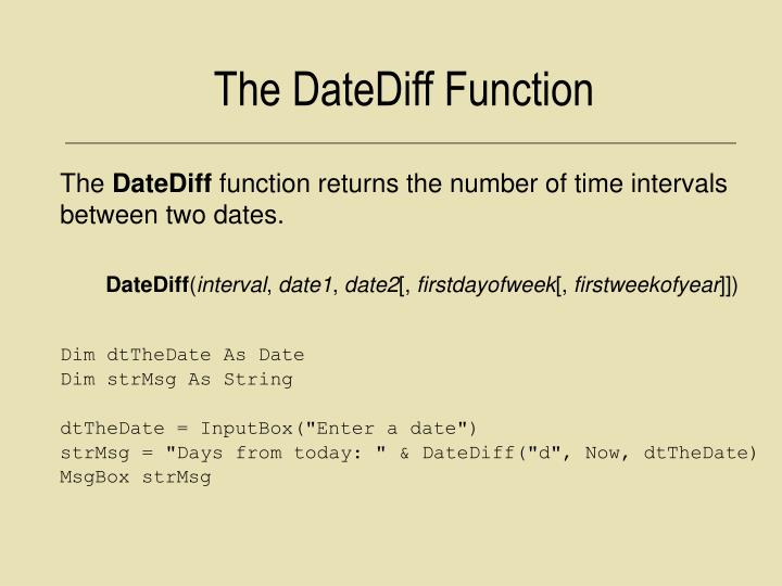 The DateDiff Function