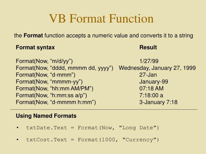 VB Format Function
