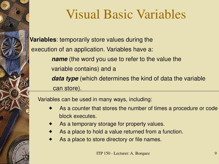 Visual Basic Variables