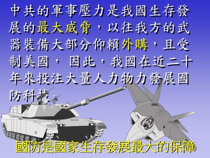 中共的軍事壓力是我國生存發展的