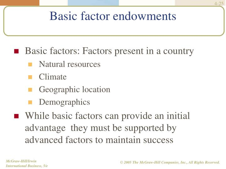 Basic factors: Factors present in a country