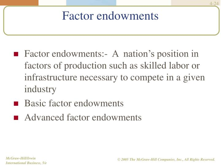 Factor endowments:-  A  nation's position in factors of production such as skilled labor or infrastructure necessary to compete in a given industry