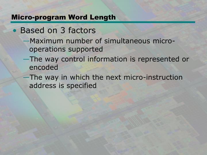 Micro-program Word Length