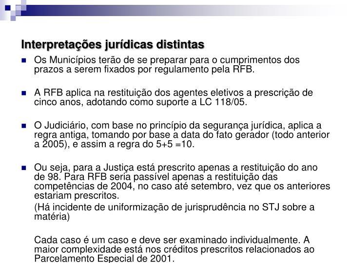 Interpretações jurídicas distintas