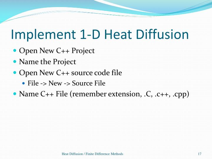 Implement 1-D Heat Diffusion