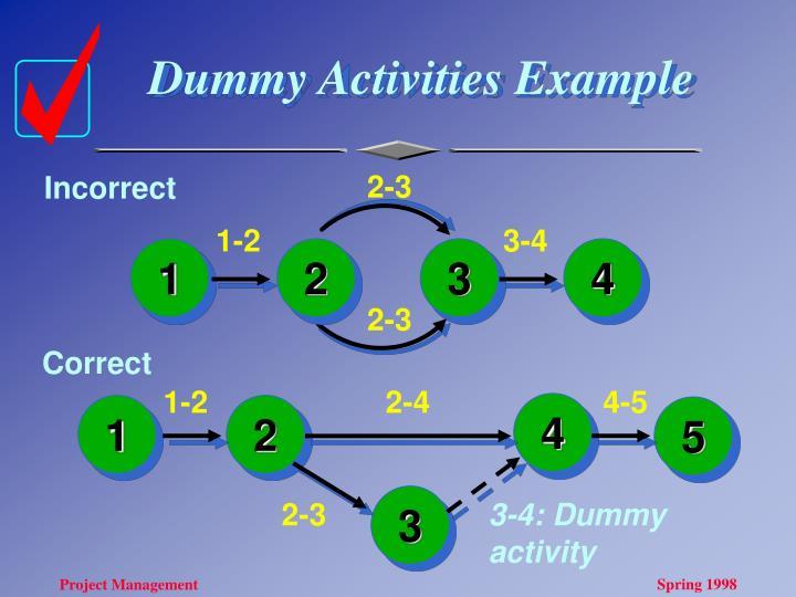 Dummy Activities Example