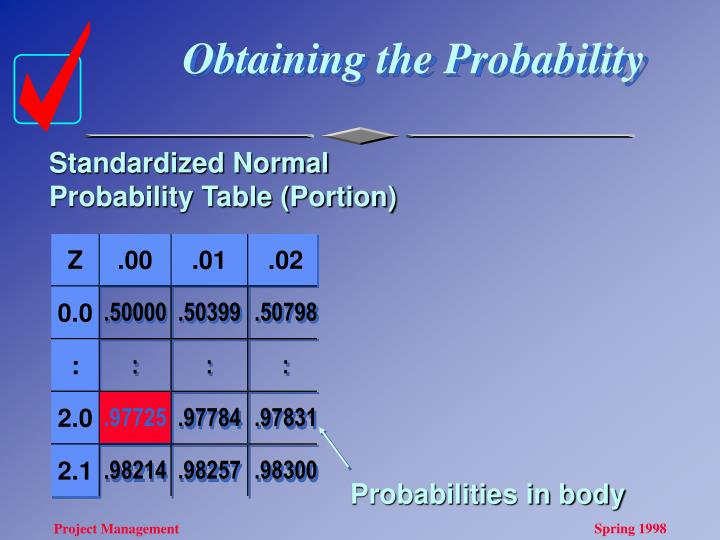 Obtaining the Probability