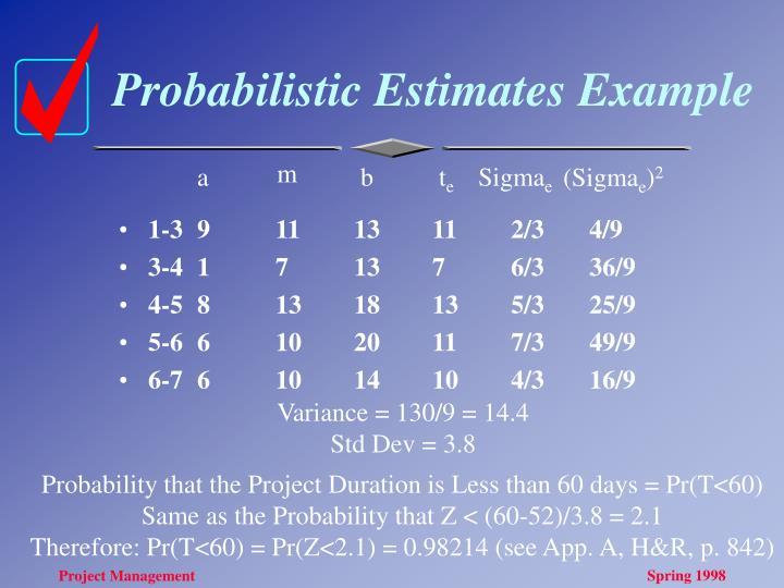 Probabilistic Estimates Example