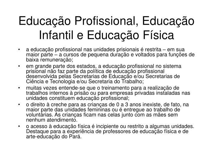 Educação Profissional, Educação Infantil e Educação Física