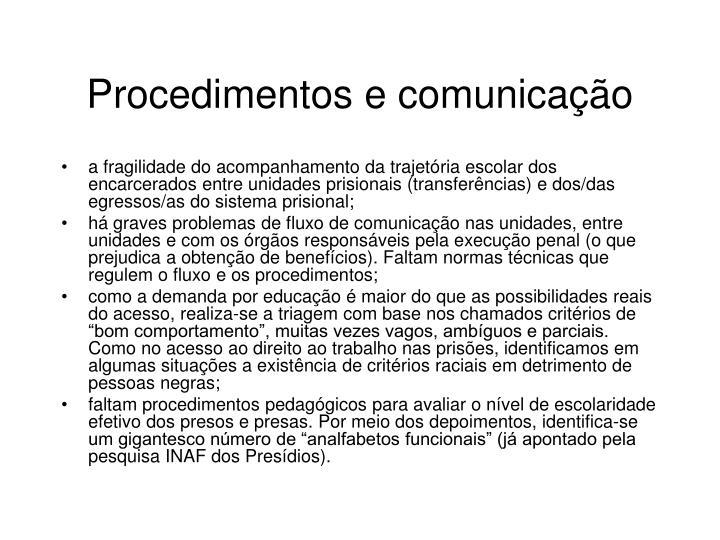 Procedimentos e comunicação