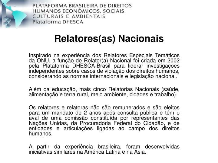 Relatores(as) Nacionais