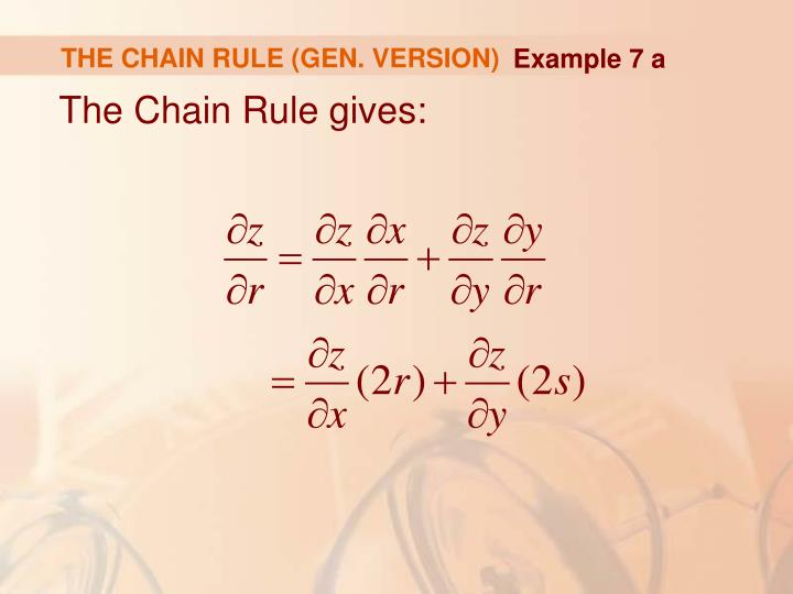 THE CHAIN RULE (GEN. VERSION)