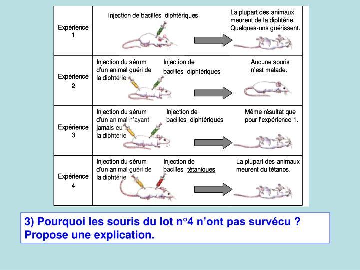3) Pourquoi les souris du lot n4 nont pas survcu? Propose une explication.