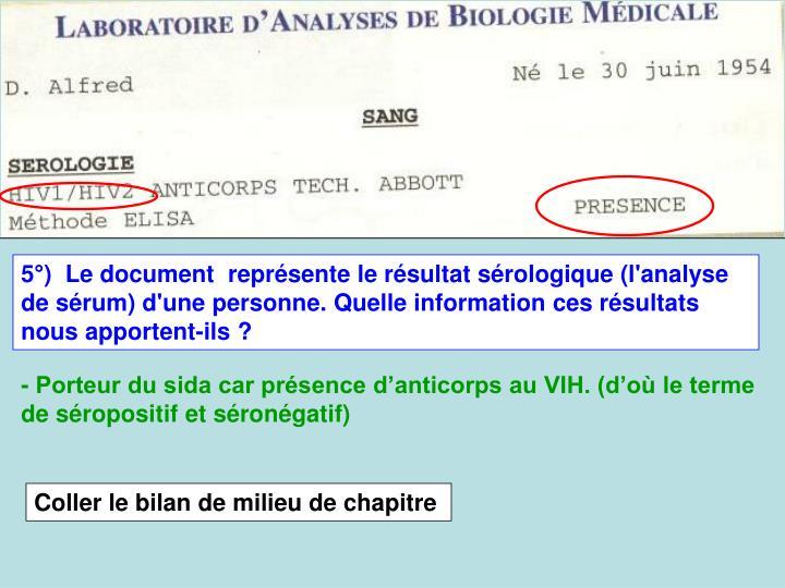 5)  Le document  reprsente le rsultat srologique (l'analyse de srum) d'une personne. Quelle information ces rsultats nous apportent-ils ?
