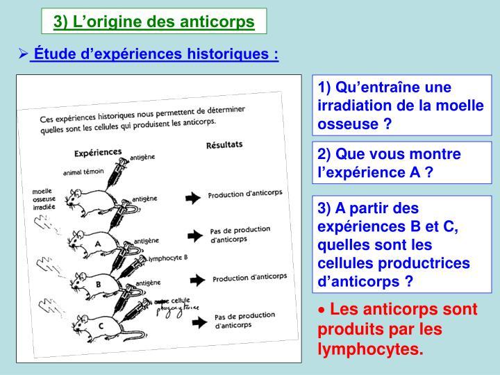 3) Lorigine des anticorps