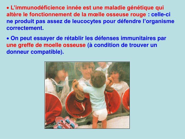 Limmunodficience inne est une maladie gntique qui altre le fonctionnement de la mlle osseuse rouge